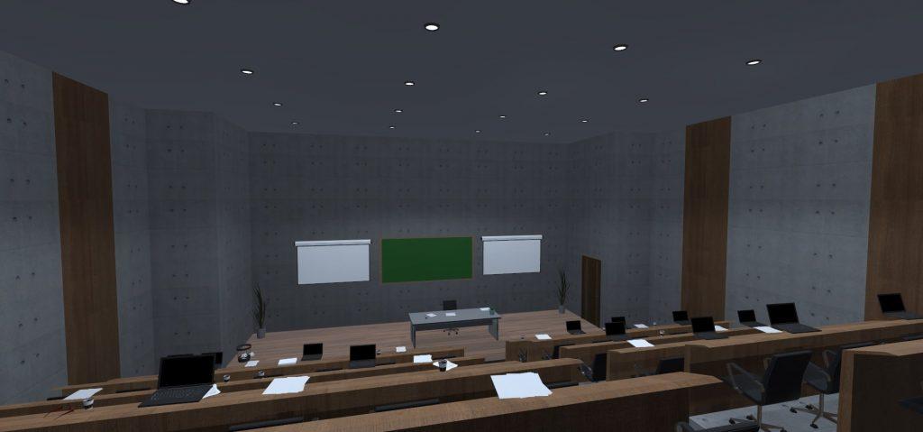 Virtueller Hörsaal mit Blick über den gesamten Bereich