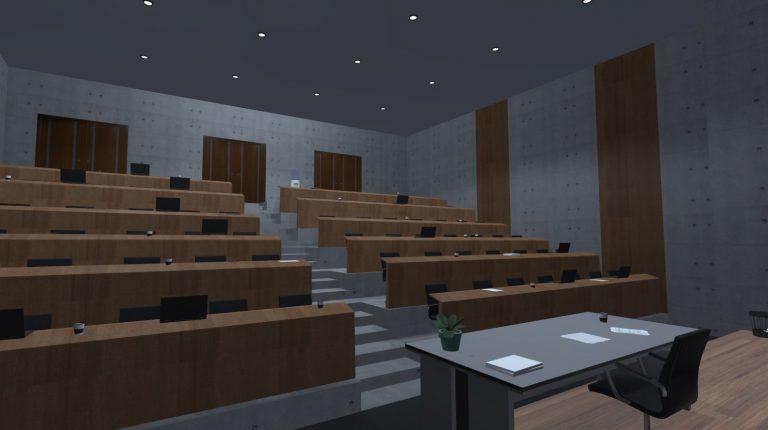 Virtueller Hörsaal mit Sitzplätzen für das Publikum und einem Schreibtisch für den Redner