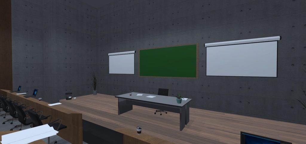 Virtueller Hörsaal mit Blick auf den Schreibtisch des Redners